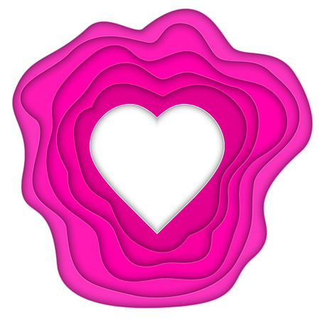 Vector illustration of paper cut heart on white background.
