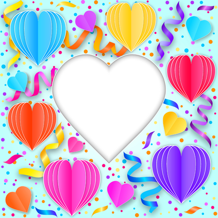 Card with colorful streamers,confetti and paper hearts on blue background