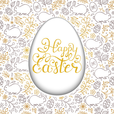 Floral easter card with handwriting inscription Happy Easter on white background. Vector illustration. Ilustrace