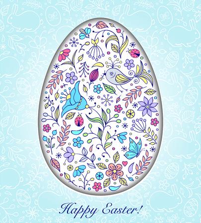 Floral easter egg on blue background. Vector illustration.