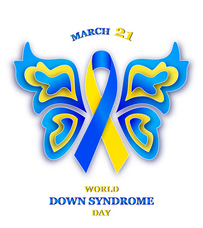 Vector illustration of butterfly with ribbon for World Down Syndrome Day on white backgroind Ilustrace