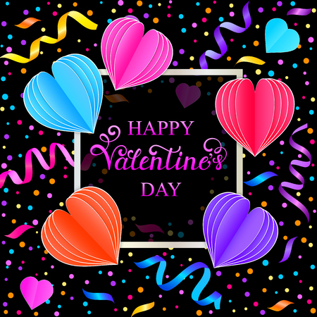 Card with colorful streamers,confetti and paper hearts on black background Illustration