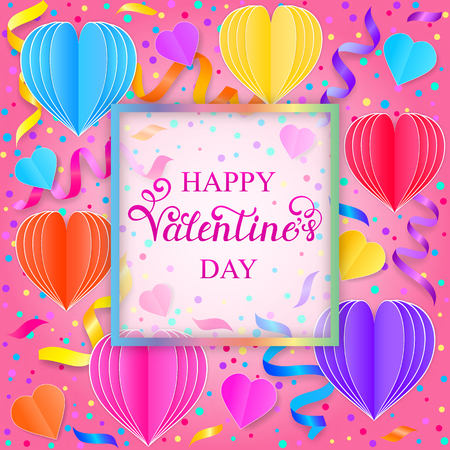 Valentines card with colorful streamers,confetti and paper hearts on white background Illustration