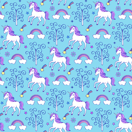 Seamless pattern with unicorns,trees and other elements on blue background.Vector illustration Illustration