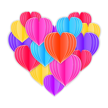 Big heart made from origami paper hearts on white background. Illustration
