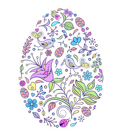 Floral easter egg on white background. Vector illustration.