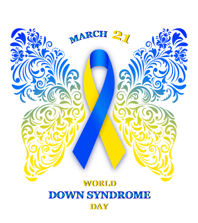 Vector illustration of floral butterfly with ribbon for World Down Syndrome Day Vectores