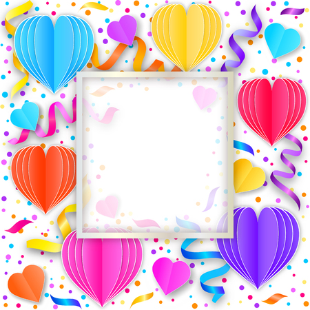 Card with colorful streamers,confetti and paper hearts on white background