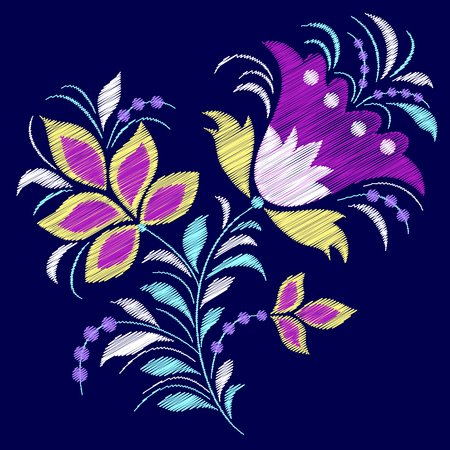 Embroidered abstract flower on dark blue background vector illustration. Illustration