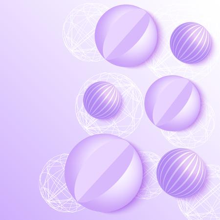 Vector illustration of 3d balls on violet background. Abstract design.