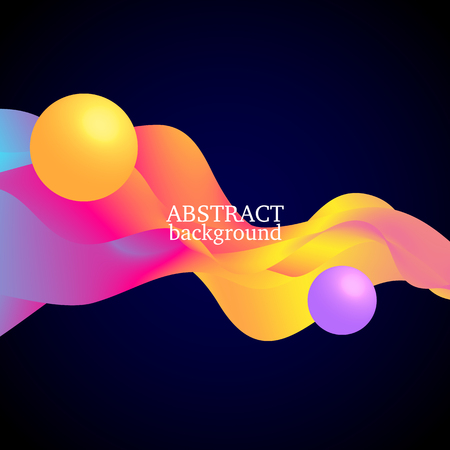 3 d balls and colorful waves on black background.Vector illustration