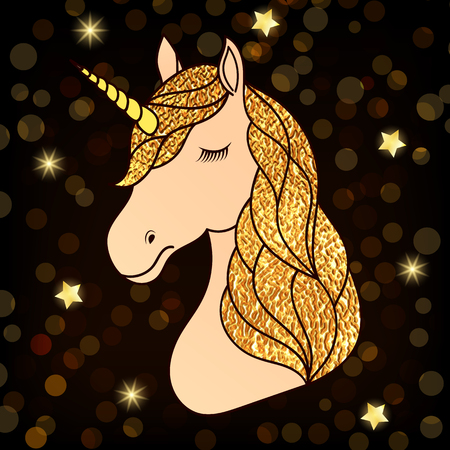 Head of hand drawn unicorn with golden hair on dark night background. 일러스트