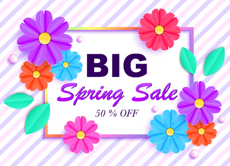 Spring sale banner with colorful flowers, leaves and beads on striped background. 矢量图像