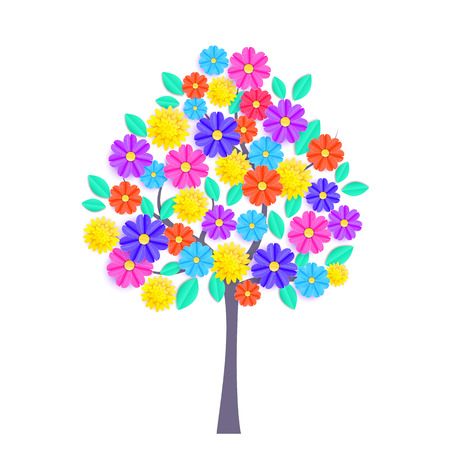Spring tree with colorful paper flowers and green leaves on white background. Illustration
