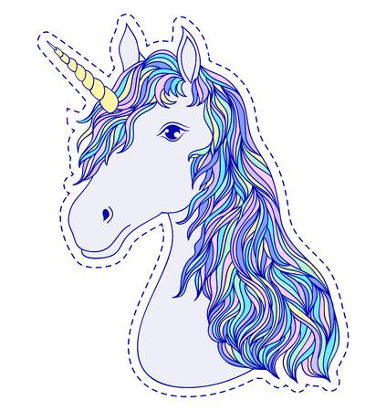 Head of hand drawn unicorn on white background Vector illustration.
