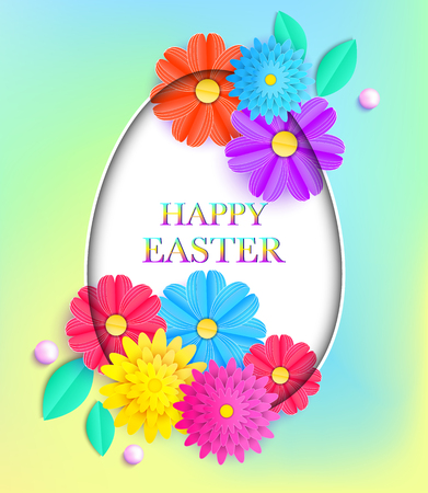 Easter card with colorful flowers and leaves Vector illustration. Illustration