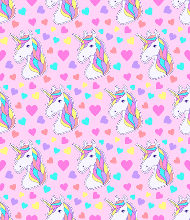 Seamless pattern with colorful unicorn and hearts on white background.