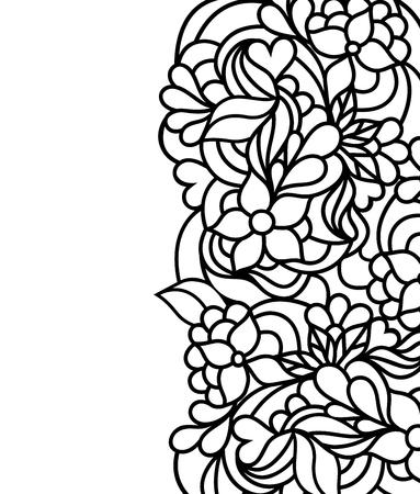 Ilustración de vector de borde floral dibujado a mano sobre fondo blanco. Página para colorear para niños y adultos.