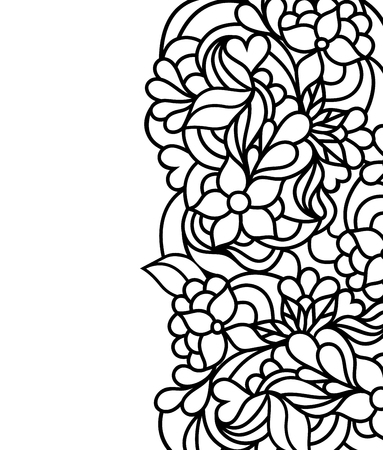 Vector illustration of hand drawn floral border on white background.Coloring page for children and adult.