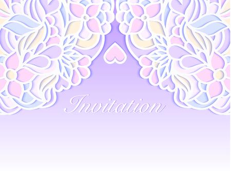 Colorful wedding invitation on lilac background. Vector illustration