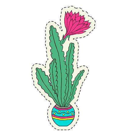 Hand drawn flower in pot on white background.Sticker for laptop sleeves,skins,cases,wallets etc. Vector illustration. Archivio Fotografico - 100467553