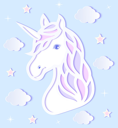 Head of paper unicorn, clouds and stars on blue background.Vector illustration.