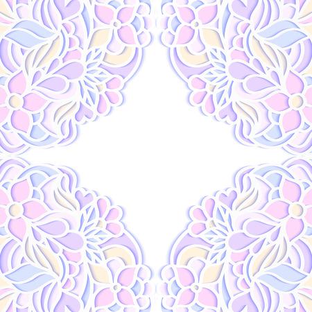Vector illustration of colorful floral frame on white background Illustration