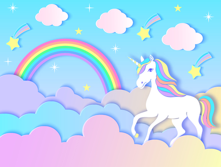 Paper unicorn, clouds,rainbow and stars on violet gradient background.Vector illustration. Illustration