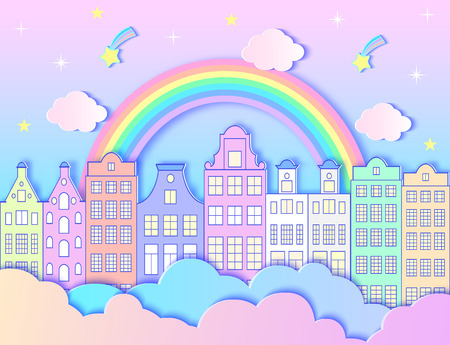 Building, rainbow,stars, sky and clouds. Vector illustration. Paper art style Ilustração