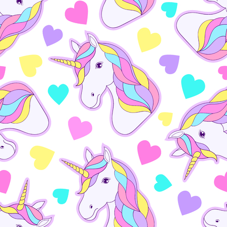 Seamless pattern with colorful unicorns and hearts on white background.
