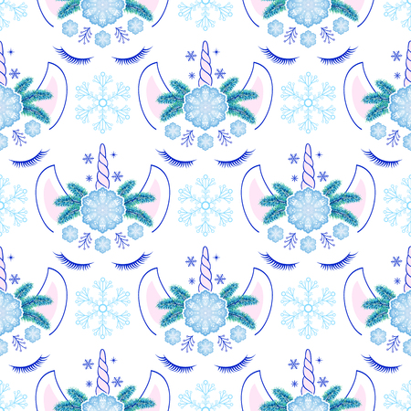 Seamless pattern with head of hand drawn unicorns and snowflakes