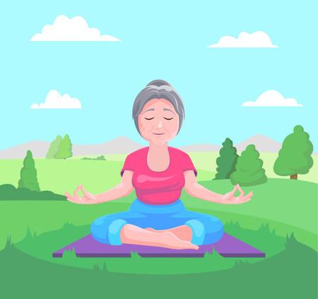 Senior woman meditates sitting on carpet.Vector illustration.