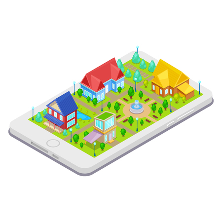 Isometric city infrastructure with houses,trees and fountain on mobile phone
