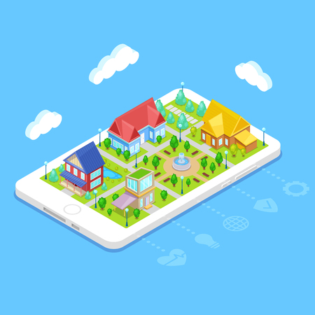Isometric city infrastructure with houses,trees and fountain on mobile phone Stockfoto - 114954451