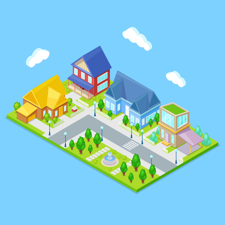 Isometric city infrastructure with houses,trees and fountain on blue background