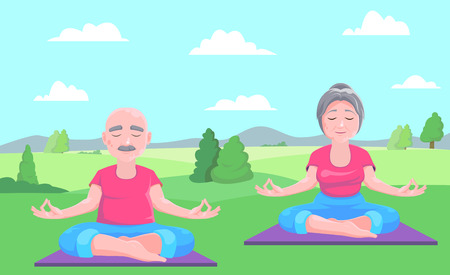 Senior man and woman meditates sitting on carpet.Vector illustration.
