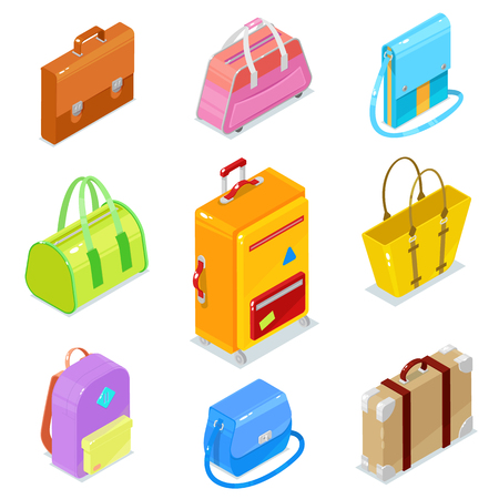 Set of colorful isometric bags ans suitcases on white background.Vector illustration.