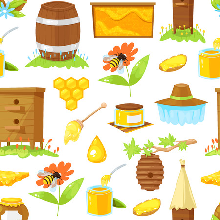 Seamless pattern of cartoon elements of beekeeping on white background.