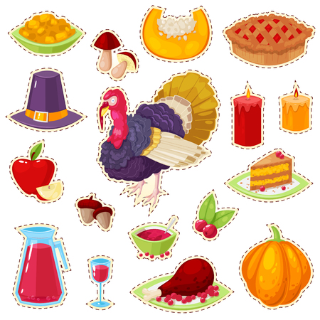 Set of colorful stickers for thanksgiving day on white background.Vector illustration.