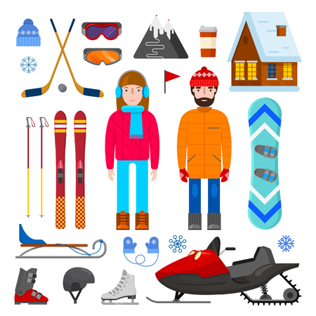 Set of winter equipment, man and woman on white background