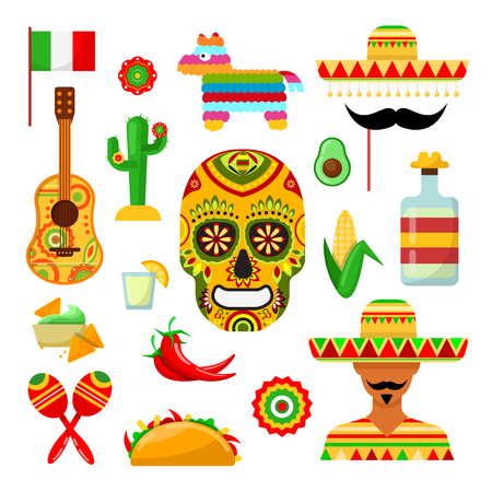 Set of traditional Mexican attributes on white backgrounds