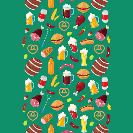 Seamless pattern with cartoon elements of beer festival on green background Stock fotó - 107171912
