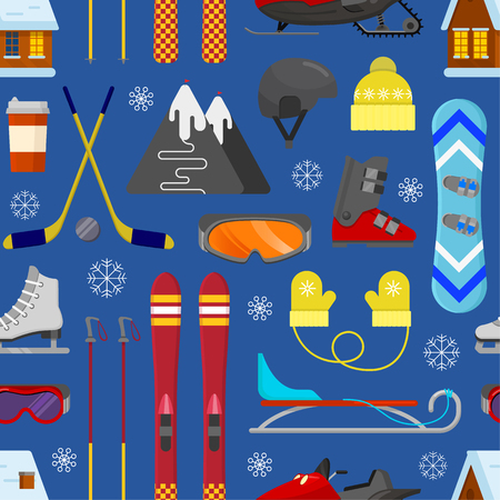 Seamless pattern with winter equipment on blue background