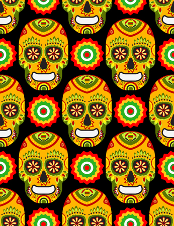 Seamless pattern for mexican day of the dead on black background Vectores