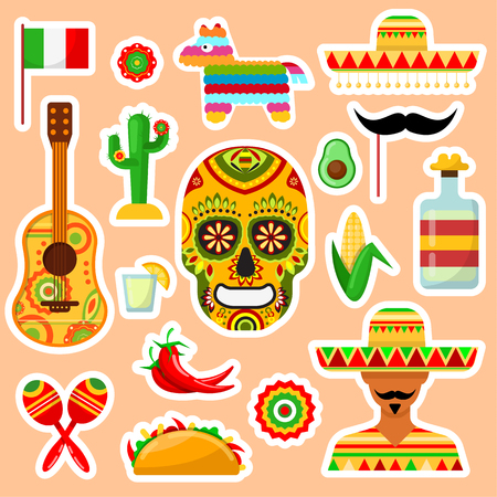 Set of stickers on Mexican subject on orange background
