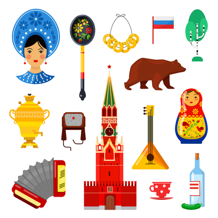 Set of traditional Russian attributes on white backgrounds Ilustração