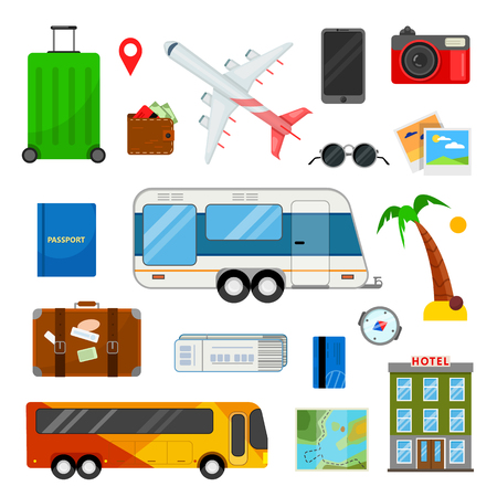 Colorful set of icons for travel in flat style on white background Ilustracja