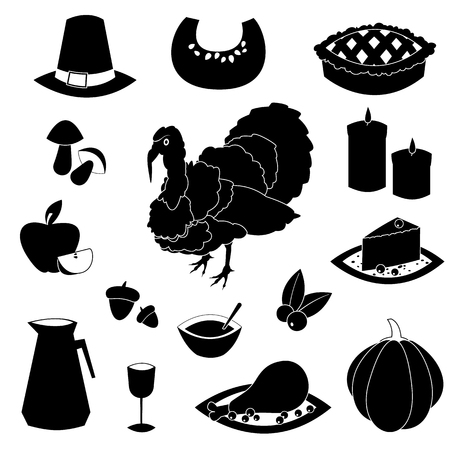 Set of cartoon object for thanksgiving day on white background