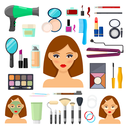 Set of tools for makeup and beaty on white background Illustration