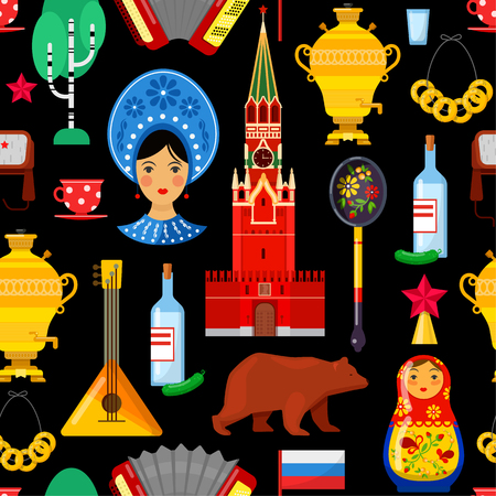 Seamless pattern with traditional Russian attributes on black backgrounds Ilustração
